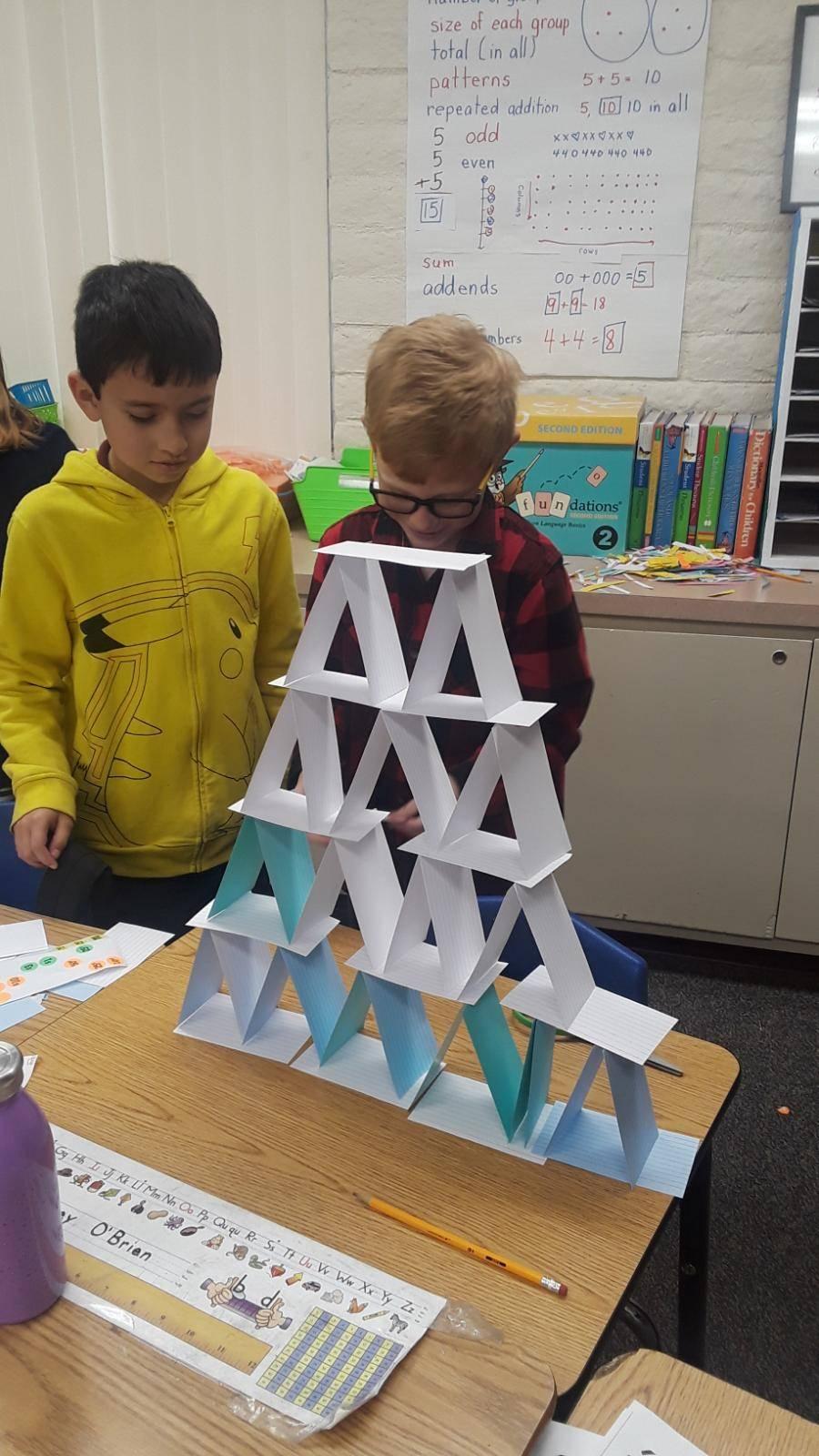 2nd grade boys make an index card structure