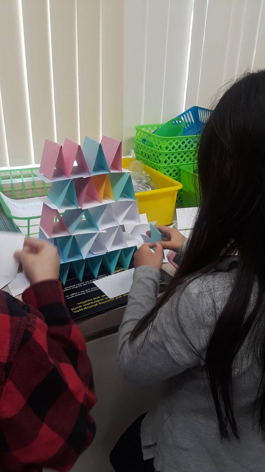 more students build card structures